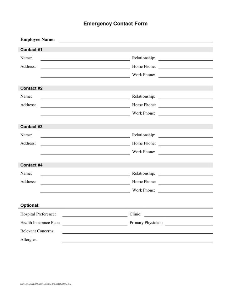 25+ Melhores Ideias De Emergency Contact Form No Pinterest   Contact Form Template  Word  Contact Template Word