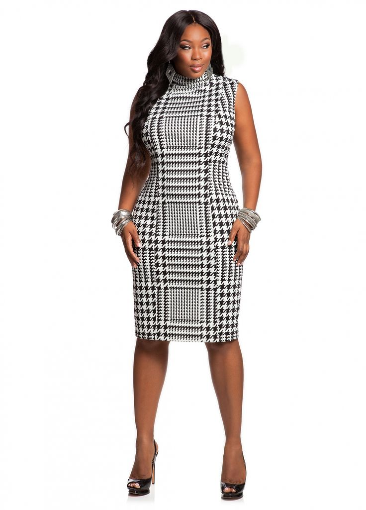 Ashley Stewart: Houndstooth Mock Neck Dress