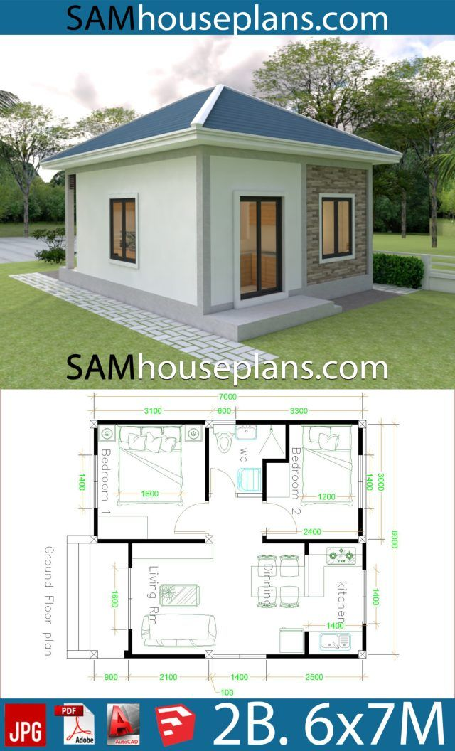 Simple House Design 6x7 With 2 Bedrooms Hip Roof Sam House Plans Simple House Design House Design Simple House House simple house plan