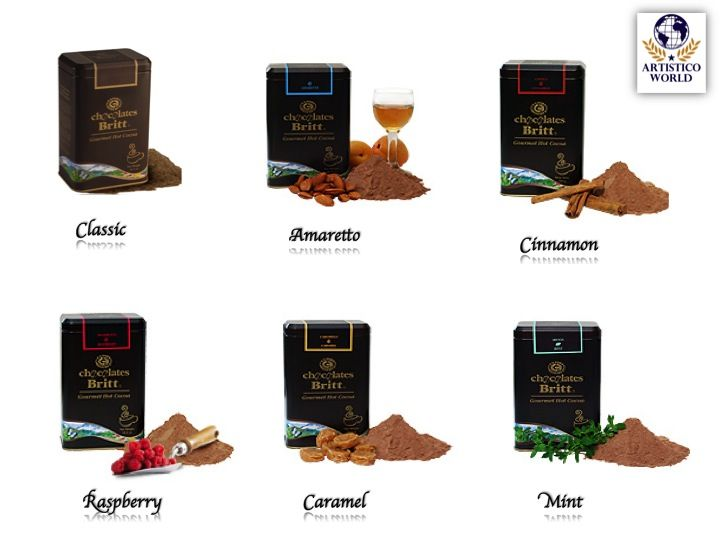 Cocoa.  Flavors:  - Classic - Raspberry - Caramel - Amaretto - Cinnamon - Mint