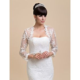 Gorgeous Long Sleeve Lace Evening/Wedding Jacket/Wrap(More Colors)