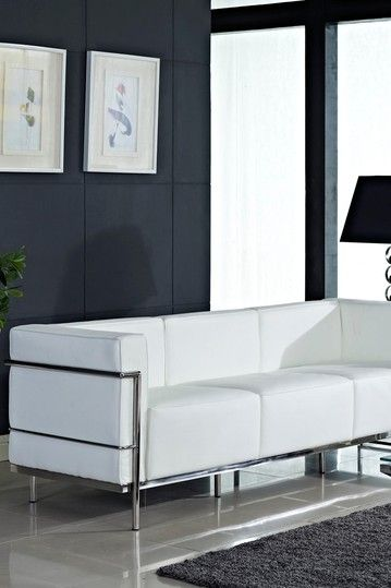 Le Corbusier LC3 Genuine Leather Sofa - White by Modway on @HauteLook