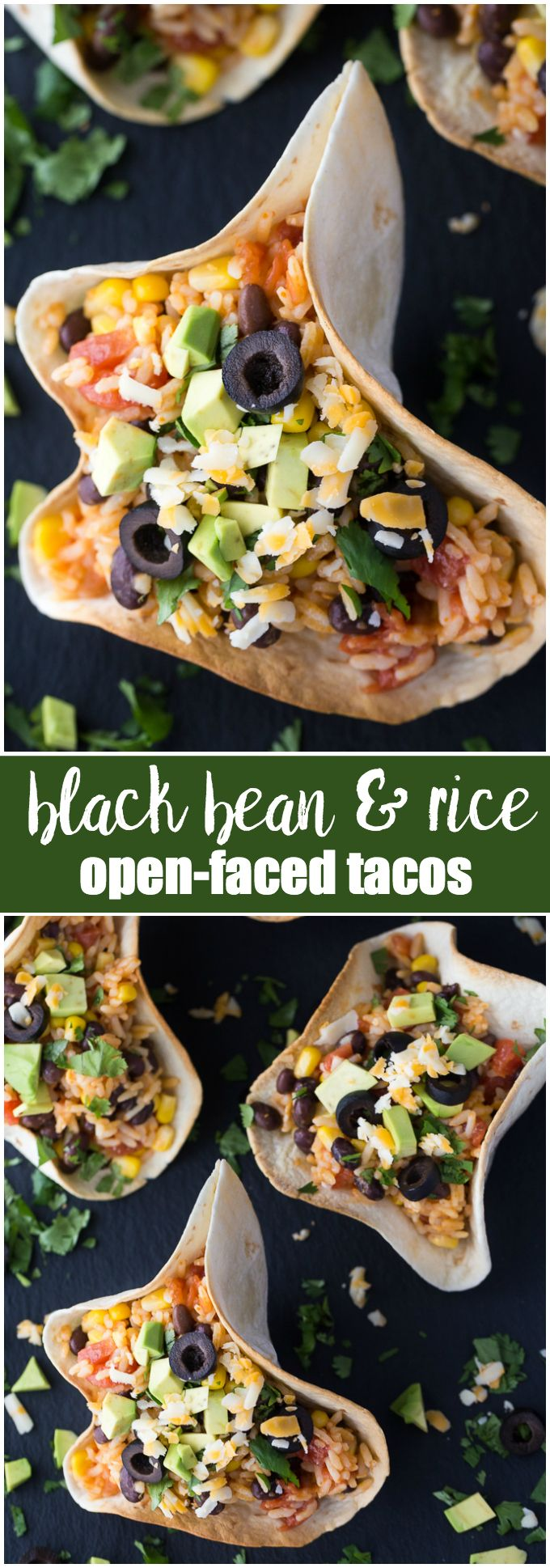 Black Bean & Rice Open-Faced Tacos - Kids love to help make this recipe of yummy tortilla bowls filled with flavourful Mexican rice.