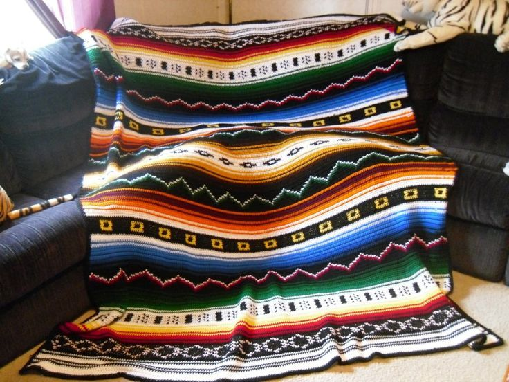 free southwestern crochet afghan patterns   Crocheted Indian afghan inspiration