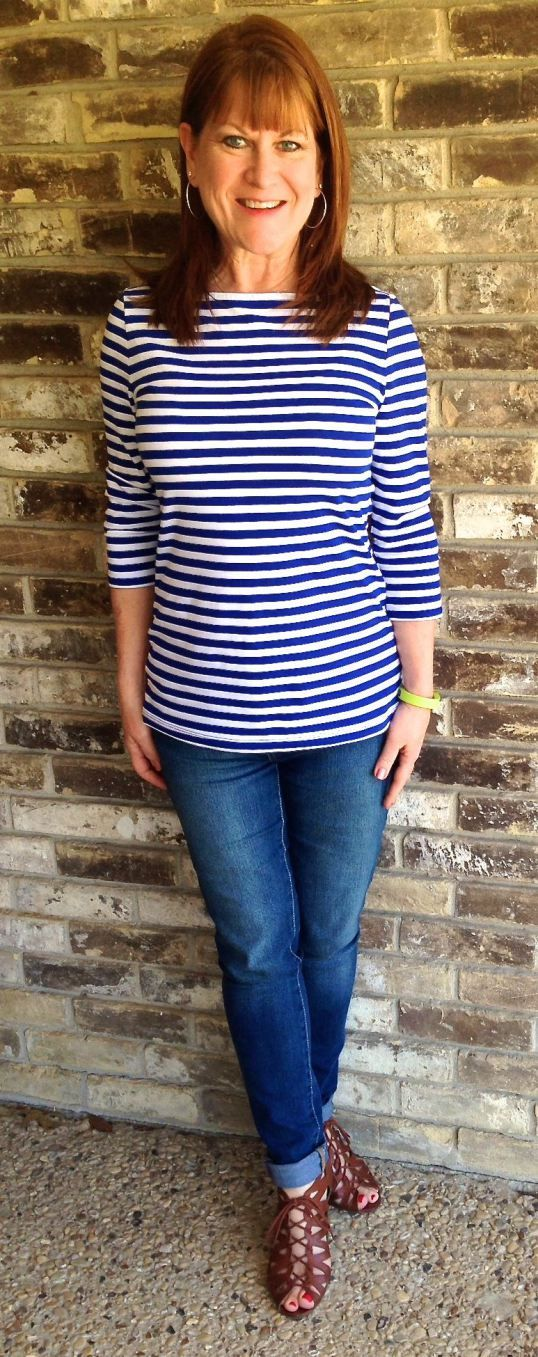 Frugally Yours-- Merona striped boat neck top: Target Skinny denim leggings: GAP Outlet Brown wedge sandals: DSW
