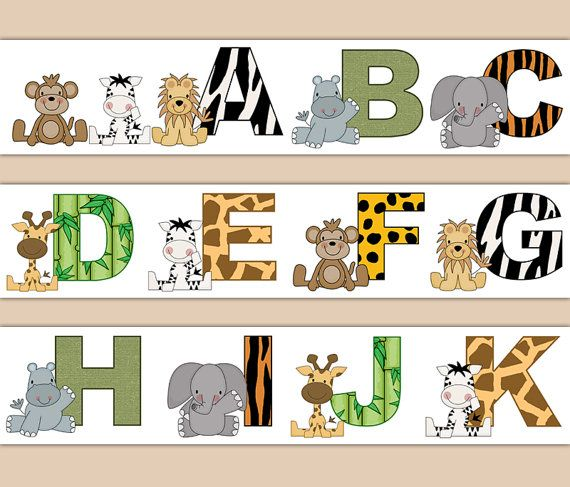 JUNGLE SAFARI DECAL Animal Alphabet Wallpaper Border Wall Stickers Boy Nursery Kids Zoo Room Children's Zebra Print Bedroom Art Decor #decampstudios