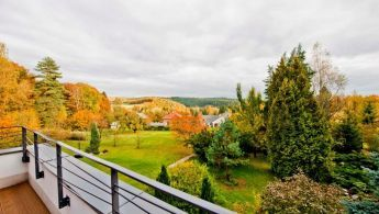 The view from the garden of functionalist villa in Propast