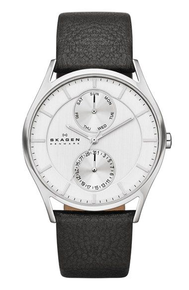 Free shipping and returns on Skagen 'Holst' Multifunction Leather Strap Watch, 40mm at Nordstrom.com. Two clean subdials display the day and date on a simple round watch set atop a rich leather strap.
