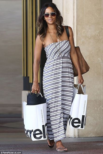 Halle Berry in a striped strapless maxi dress - celebrity street style! www.wearitforless.com