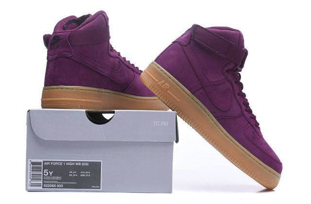 042bf5a711e Nike Air Force 1 High WB GS Bordeaux Women s Sneakers Shoes 922066 ...