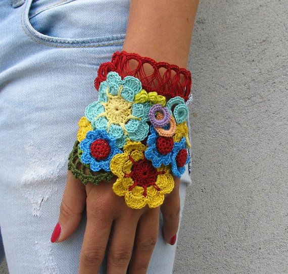 Freeform crochet Jewelry / Bracelet Cuff  Floral by kovale on Etsy, $38.00