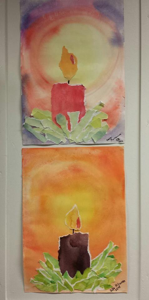 """""""Joulukynttilät"""" (5.lk) Pohja tai kynttilän säkeet maalattiin aika märälle pinnalle akvarelliväreillä ja osa käytti tavallisia peitevärejä. Toiseen paperiin läiskät vihreää, kynttilän väri ja kuuseoksien eri vihreitä värejä.Sitten oppilaat vain repivät kynttilän ja sydämen, oksat ja liimasivat. Alakoulun aarreaitta FB -sivustosta / Tuija Eira)"""