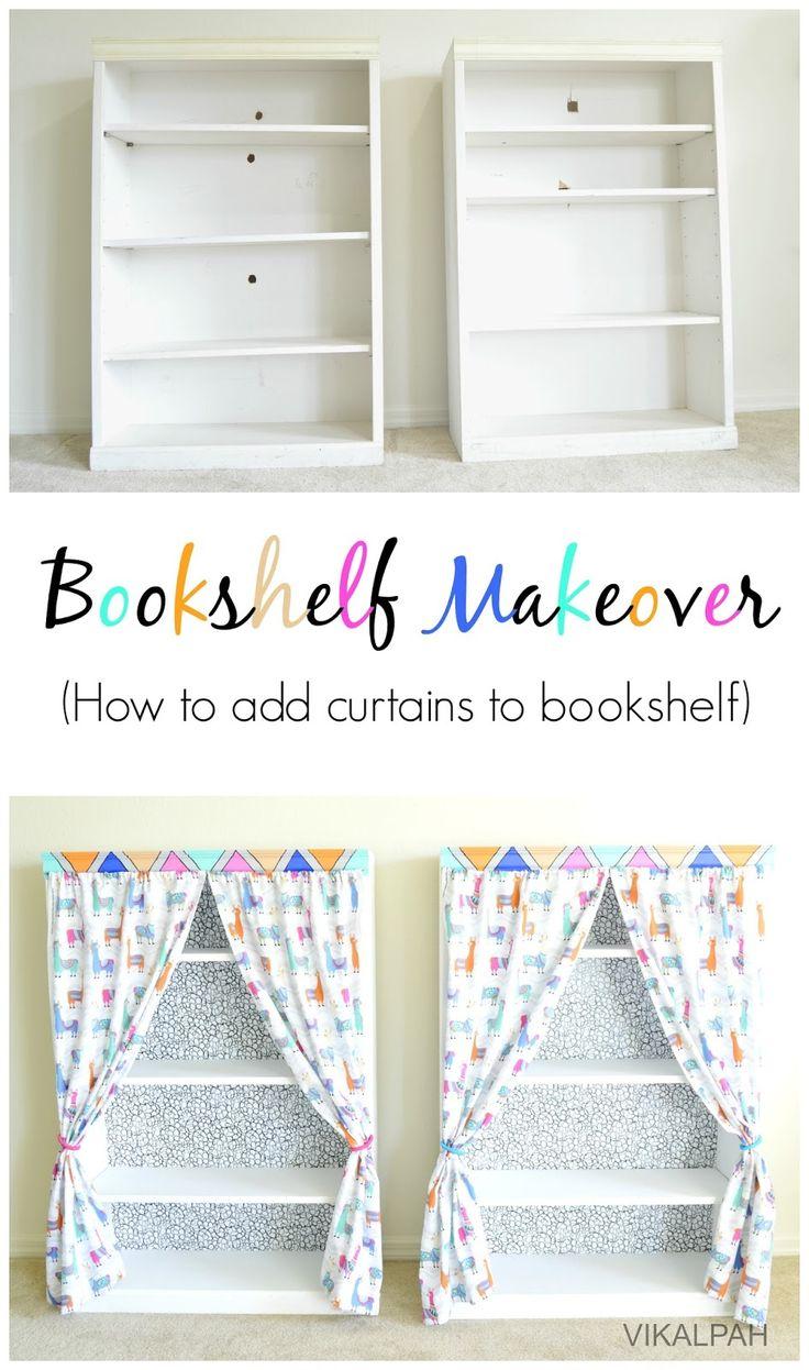 Vikalpah: Bookshelf makeover - How to add curtains to bookshelf