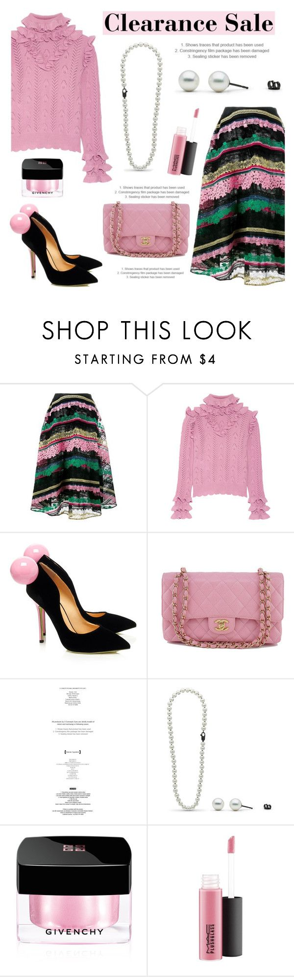 """Clearance sale!"" by pearlparadise ❤ liked on Polyvore featuring Valentino, Gucci, Giannico, Chanel, StyleNanda, Givenchy and MAC Cosmetics"