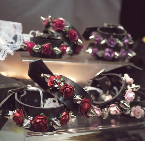 Spiked flower bracelet. Spike cuff. Goth. Grunge. Punk. Diy