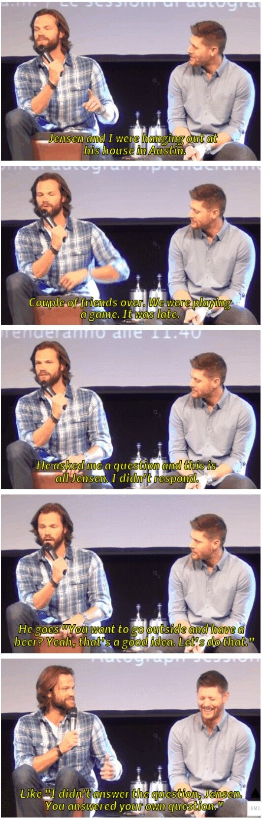 Jared talking about how Jensen carries on both sides of a conversation.