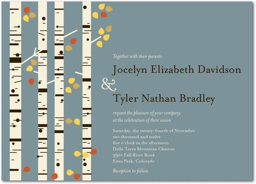 Birch Charm - Signature White Wedding Invitations - Eleanor Grosch - Pumpkin - Orange : Front