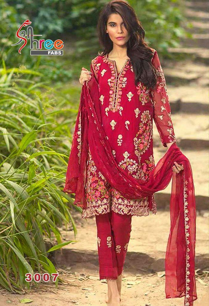 Red Georgette Designer Salwar Kameez 36218