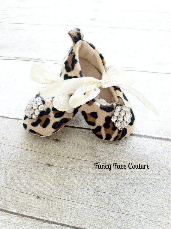 Leopard Baby Girl Shoes Little Girls crib shoes Ballet Slippers Soft Sole Vintage Crystal Leopard  Newborn-Infant Children- Baby Shower Gift