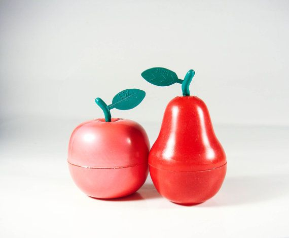 Vintage plastic salt and pepper shakers in a shape of apple and rear kitchen decor my grandma used to have the apple