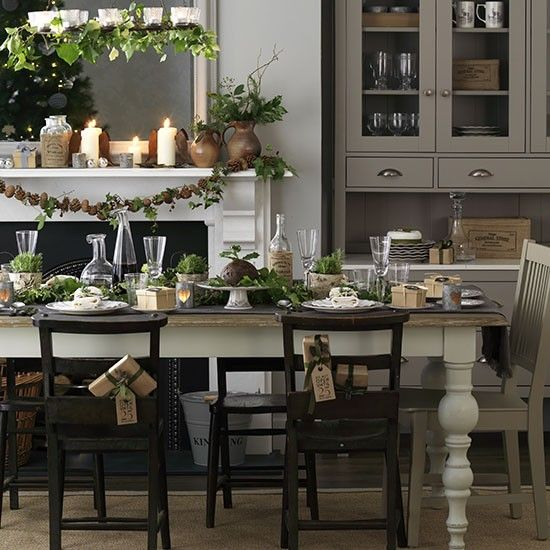1000 ideas about christmas dining rooms on pinterest for Kitchen dining room decor