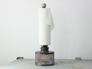 Dotz. Cuz we like dotz. Its just plain cool and not a paper towel holder anybody else has. http://www.metalmarkeclectics.com #industrial #kitchen #papertowel #decor #design #clean #interior