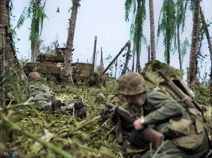 The Battle of Peleliu, codenamed 'Operation Stalemate II' Marines covered by a USMC M4A2(75) Sherman tank # A10 of Company 'A' 1st Tank Battalion, move cautiously forward during an assault on a Japanese bunker, on the island of Peleliu in the Pacific...
