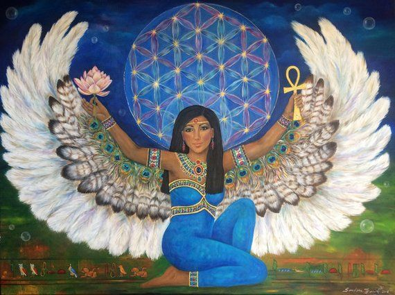 Goddess Isis Art Print, Flower of Life, Spirit Meditation