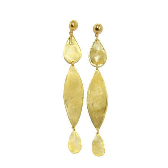 Long Sexy brass dangle earrings Summer Fun gift by arwcreation, $25.00