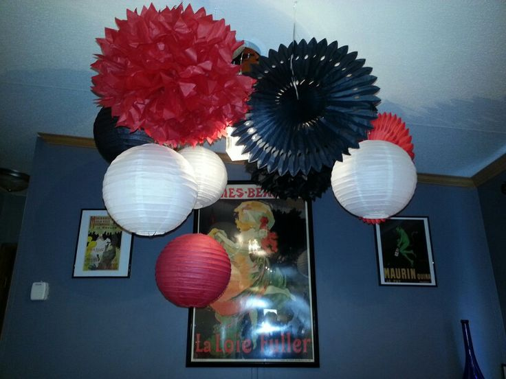 Red and black baby shower decorations.