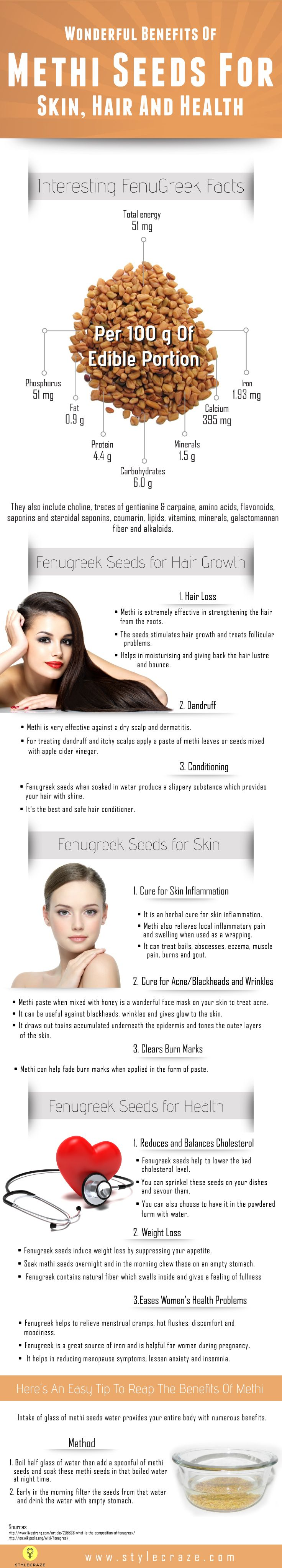 الحلبة Fenugreek or methi seeds offer many beneficial properties. Know how fenugreek seeds for hair growth help & also its benefits for skin & health.