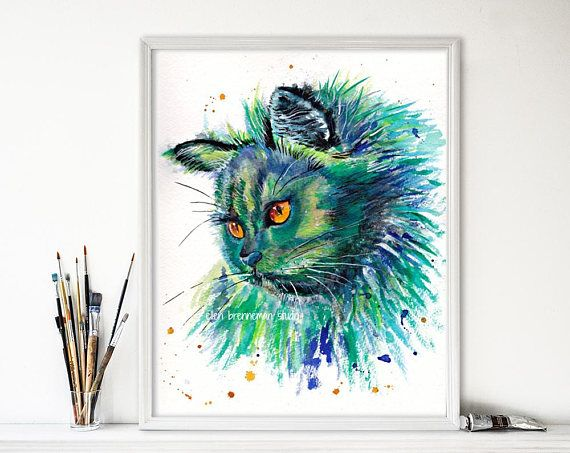 This beautiful blue and green cat was painted as part of my spirit animal series and is now available as a fine art print. Created for anyone who has ever been touched by a beloved feline, this unique piece of art would make a thoughtful bereavement gift for someone who has recently lost their best friend, as a perfect addition to your child's nursery or as a special offering for the cat lover in your life.