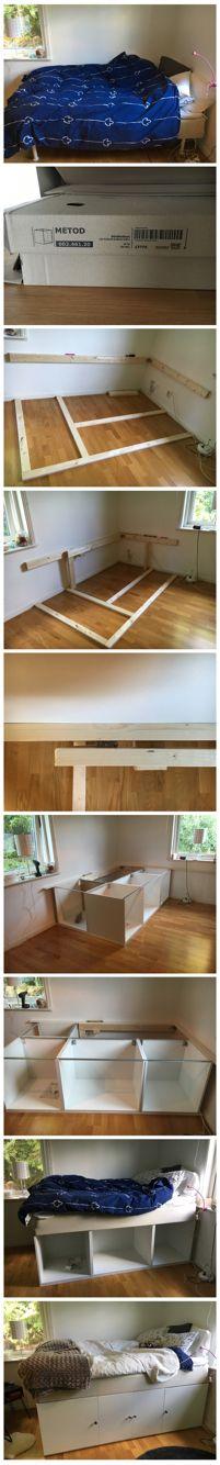 Min uppbyggda säng på Ikeas Metod köksskåp. Jag är så nöjd med resultatet! Vilken förändring det blev SÅÅÅÅÅÅÅ snyggt. Älskar det. Tog inte alltför lång tid heller❤️