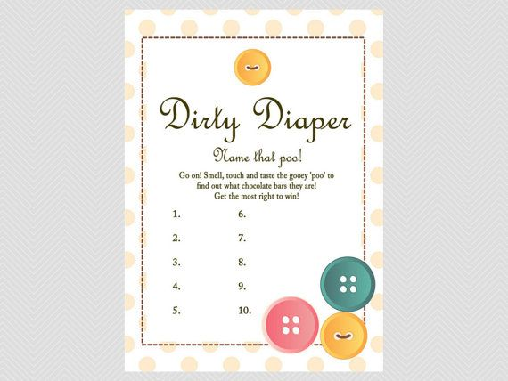 Delightful Dirty Diaper Game, Name That Poo Game, Chocolate Bar Game, Cute As A