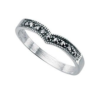 Sterling Silver Marcasite Wishbone Ring - With a contemporary and free spirited feel, this stylish ring from the must-have Beginnings collection is expertly crafted from 925 grade sterling silver and grey marcasite: http://ow.ly/XycH4