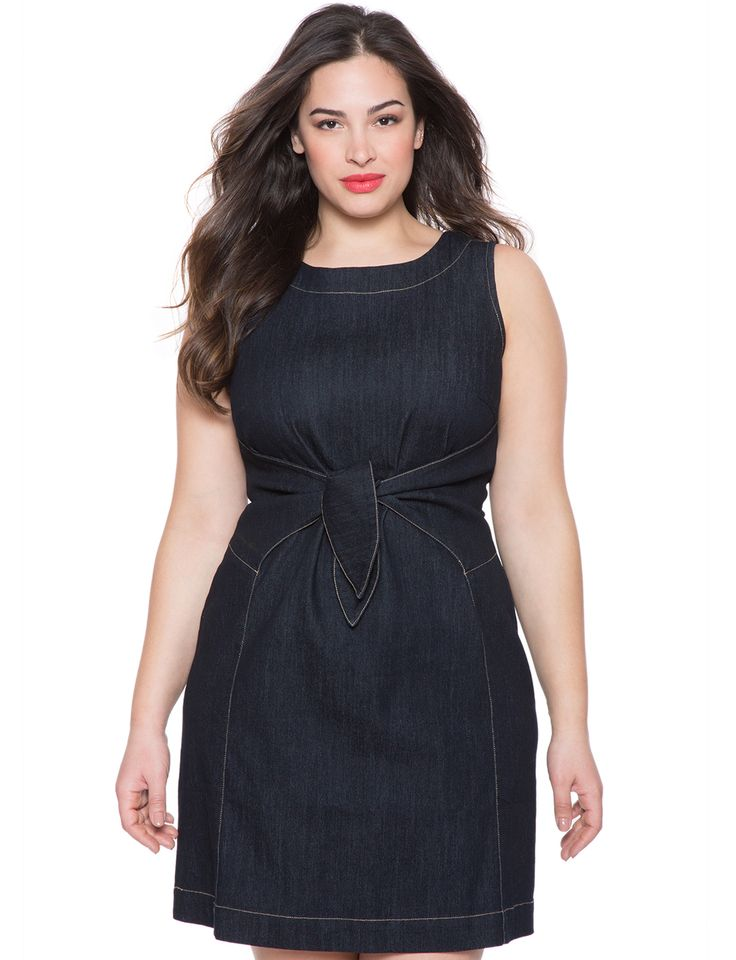 Tie Front Denim Dress | Women's Plus Size Dresses | ELOQUII