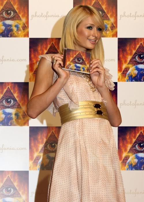 Paris Hilton    Imagery: Pyramid with One Eye overseeing the world