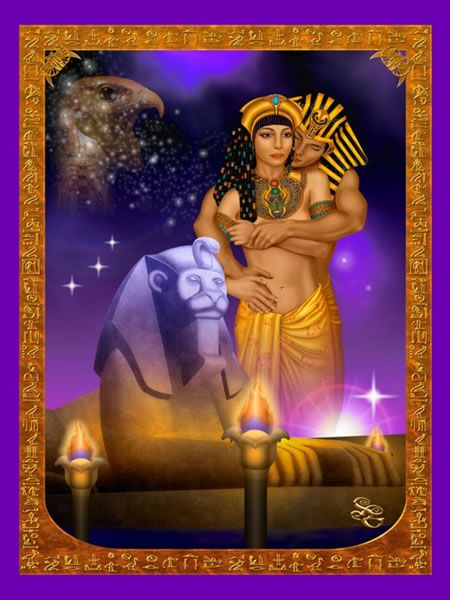 Fantasy and Goddess Art Prints-Fantasy Digital Painting The Legend of Isis and Osiris by Sharon George