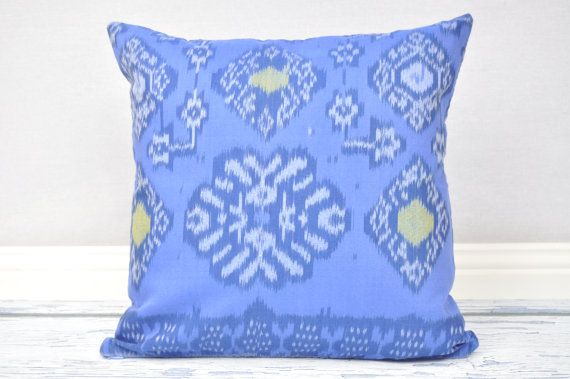 Blue Ikat 16 x 16 cushion cover by IkatPikat on Etsy