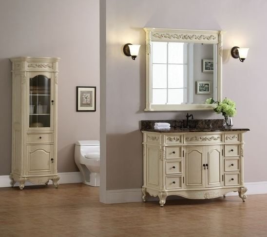 Awesome Websites Windsor inch Antique Bisque Bathroom Vanity is an antique replica with hand carved pilasters and feet Single Bathroom Vanity Free standing