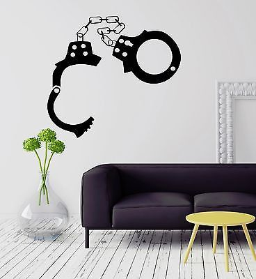Wall Stickers Police Handcuffs Sheriff Mafia Crime Vinyl Decal (ig1573)