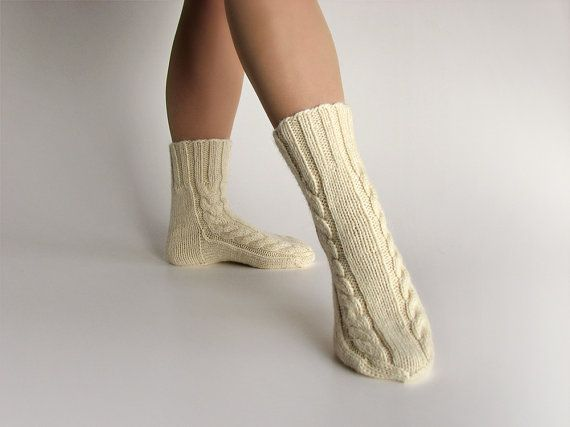 Warm Thick Yarn Hand Knitted Cable Socks 100% Natural by milleta on Etsy www.etsy.com/shop/milleta