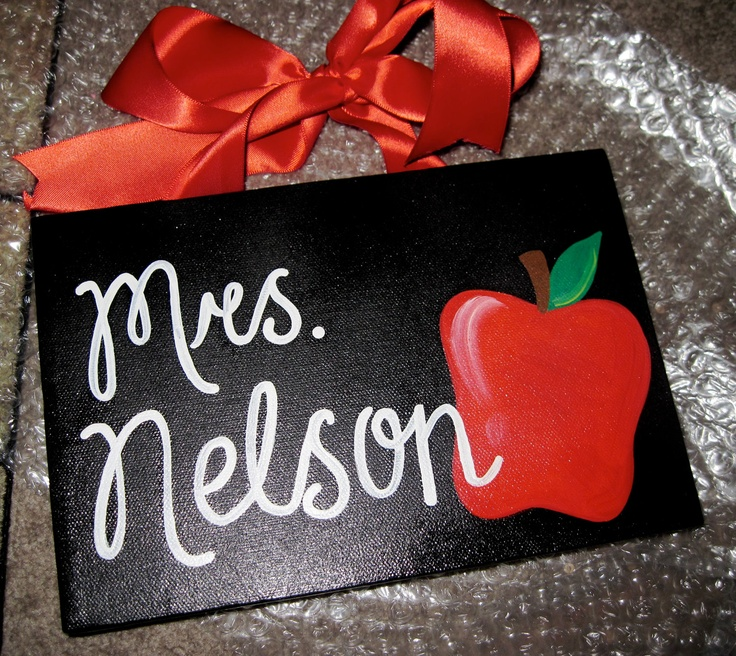 Apple Teacher Canvas Sign by dreamcustomartwork on Etsy
