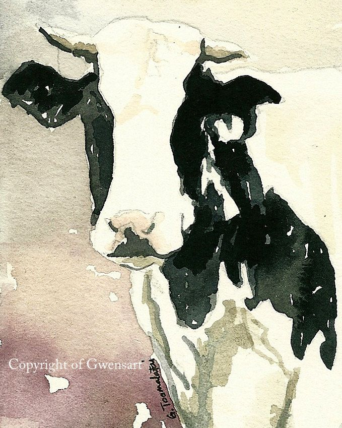 Cow art Cow PRINT of original watercolor painting Print 8.5 x 11 paper size Black and White cow print Holstein cow print by GWENSART on Etsy