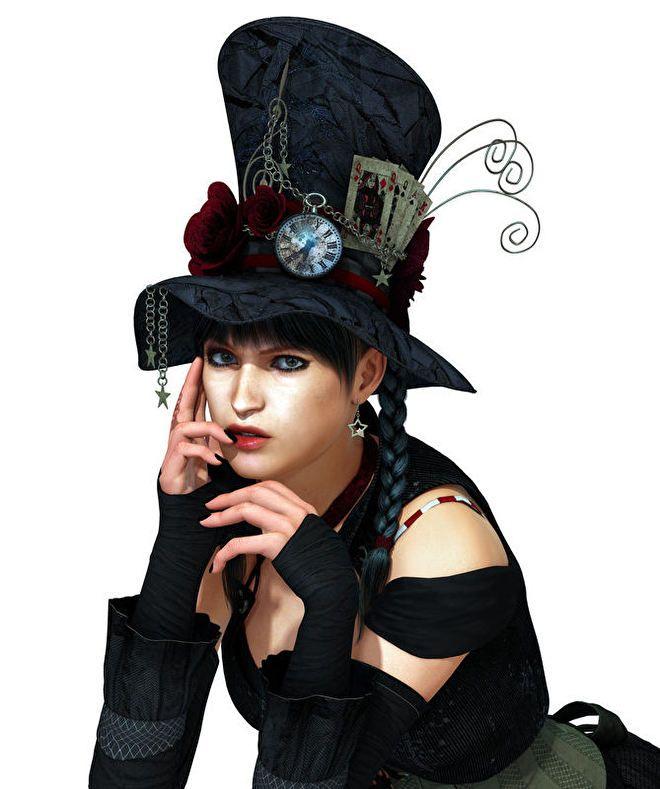 steampunk meisje met hoge hoed klok rozen kaarten.jpg