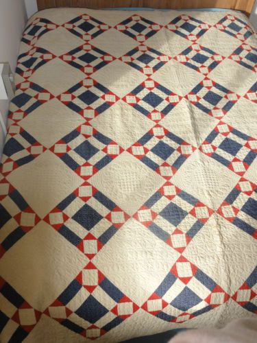 Antique 1891 Quilt Handmade Red White Blue Southern Ohio 82 x 84"