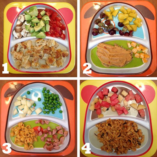 1. chicken + cheese quesadilla, mushrooms, cherry tomatoes, avocado  2. multi-grain toast with red pepper hummus, cheddar cheese, grapes, peaches  3. turkey hot dog, Annie's macaroni + cheese, apples, peas  4. enchilada casserole with ground turkey + corn + beans, watermelon, cantaloupe