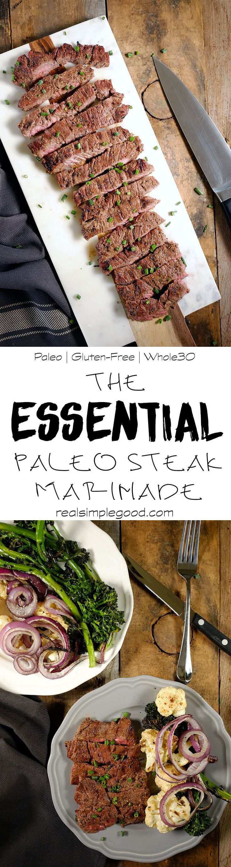 This is the ESSENTIAL Paleo steak marinade. Easy to make with simple ingredients you have on hand, this marinade is delicious and flavorful. Paleo, Gluten-Free, Soy-Free, Sugar-Free and Whole30. | realsimplegood.com