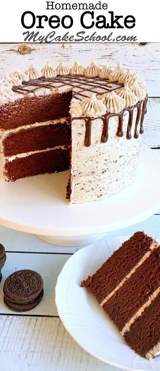 The BEST Oreo Cake recipe by MyCakeSchool.com! Moist chocolate cake layers with Oreo Buttercream and ganache! MyCakeSchool.com.