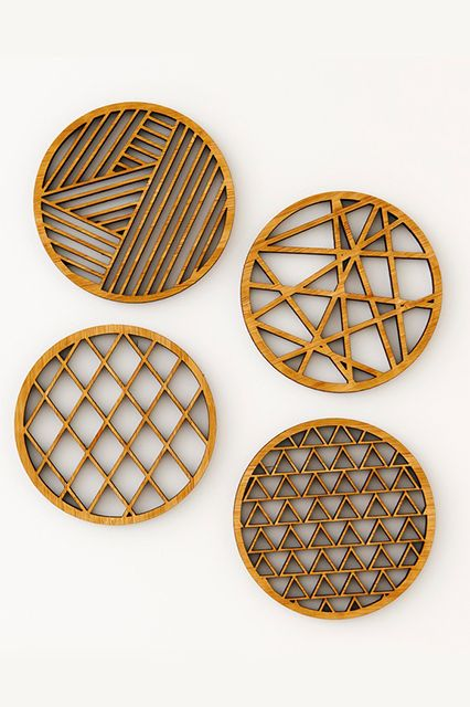 Small-Space Decorating That Doesn't Feel Cluttered #refinery29  http://www.refinery29.com/small-space-holiday-decorating#slide26  Geometric coasters you can actually use all the time. Light And Paper Geometric Bamboo Coasters, $33, available at Brika.